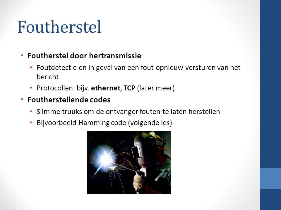 Foutherstel Foutherstel door hertransmissie Foutdetectie en in geval van een fout opnieuw versturen van het bericht Protocollen: bijv. ethernet, TCP (