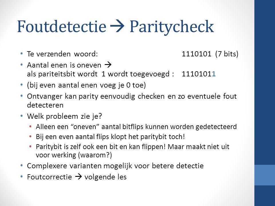 Foutdetectie  Paritycheck Te verzenden woord: 1110101 (7 bits) Aantal enen is oneven  als pariteitsbit wordt 1 wordt toegevoegd : 11101011 (bij even aantal enen voeg je 0 toe) Ontvanger kan parity eenvoudig checken en zo eventuele fout detecteren Welk probleem zie je.