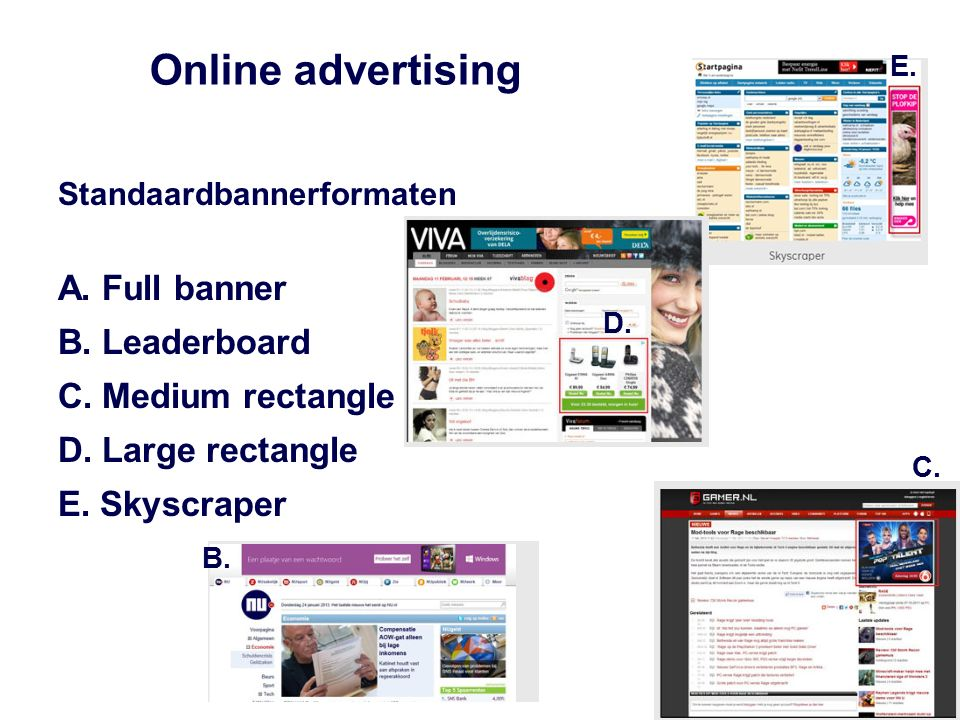 Online advertising Standaardbannerformaten A. Full banner B. Leaderboard C. Medium rectangle D. Large rectangle E. Skyscraper E. D. C. B.