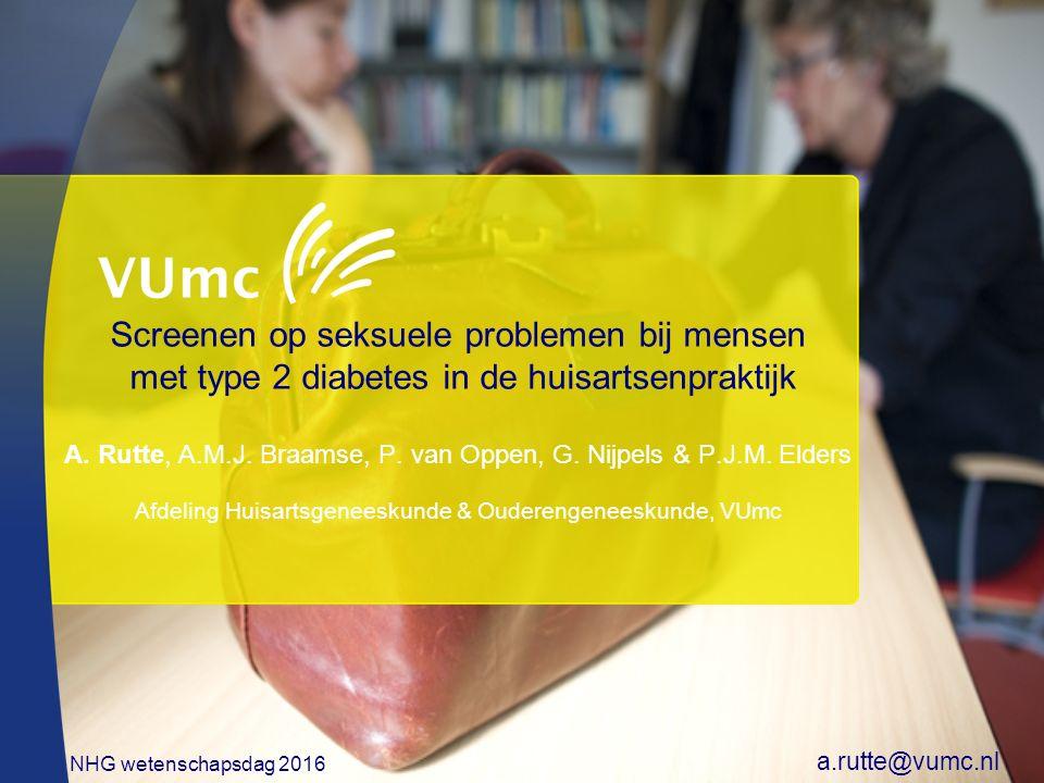 Screenen op seksuele problemen bij mensen met type 2 diabetes in de huisartsenpraktijk A.