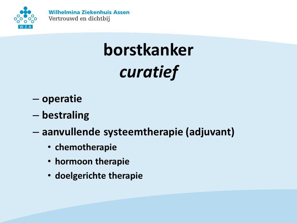 borstkanker curatief – operatie – bestraling – aanvullende systeemtherapie (adjuvant) chemotherapie hormoon therapie doelgerichte therapie