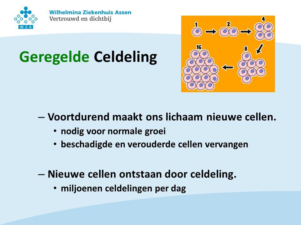 Geregelde Celdeling – Voortdurend maakt ons lichaam nieuwe cellen. nodig voor normale groei beschadigde en verouderde cellen vervangen – Nieuwe cellen