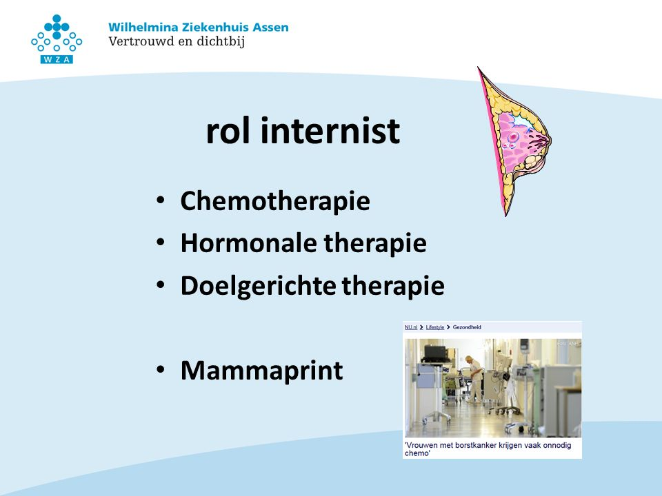 rol internist Chemotherapie Hormonale therapie Doelgerichte therapie Mammaprint