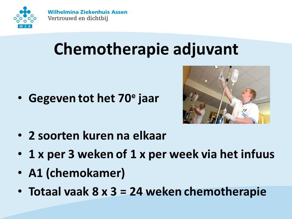Chemotherapie adjuvant Gegeven tot het 70 e jaar 2 soorten kuren na elkaar 1 x per 3 weken of 1 x per week via het infuus A1 (chemokamer) Totaal vaak 8 x 3 = 24 weken chemotherapie