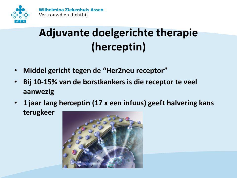 Adjuvante doelgerichte therapie (herceptin) Middel gericht tegen de Her2neu receptor Bij 10-15% van de borstkankers is die receptor te veel aanwezig 1 jaar lang herceptin (17 x een infuus) geeft halvering kans terugkeer