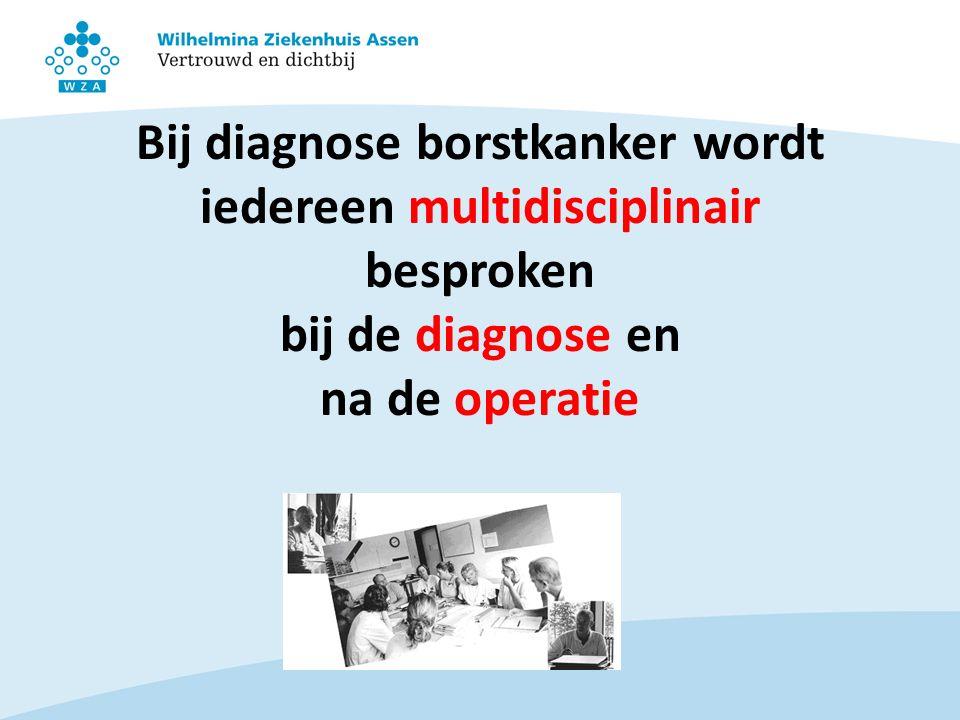 Bij diagnose borstkanker wordt iedereen multidisciplinair besproken bij de diagnose en na de operatie