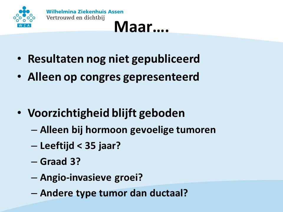 Maar…. Resultaten nog niet gepubliceerd Alleen op congres gepresenteerd Voorzichtigheid blijft geboden – Alleen bij hormoon gevoelige tumoren – Leefti