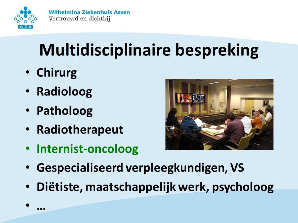 Multidisciplinaire bespreking Chirurg Radioloog Patholoog Radiotherapeut Internist-oncoloog Gespecialiseerd verpleegkundigen, VS Diëtiste, maatschappelijk werk, psycholoog …