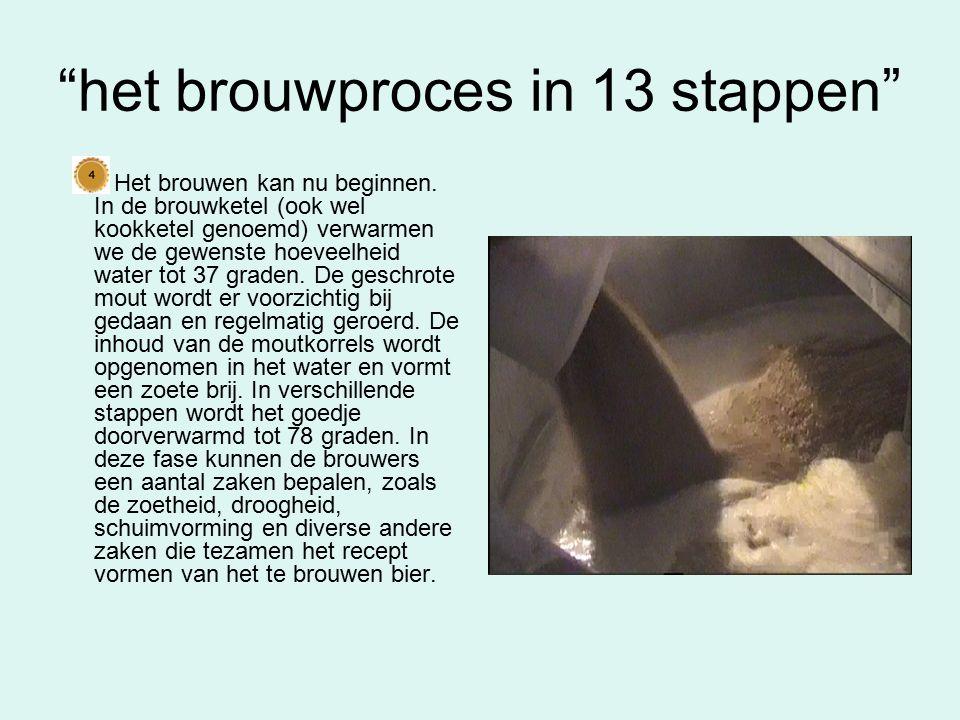 het brouwproces in 13 stappen Nu het recept is bepaald, kan de mout worden geschroot.