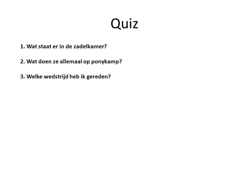 Quiz 1.Wat staat er in de zadelkamer. 2. Wat doen ze allemaal op ponykamp.