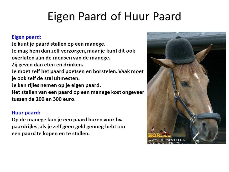 Eigen Paard of Huur Paard Eigen paard: Je kunt je paard stallen op een manege.