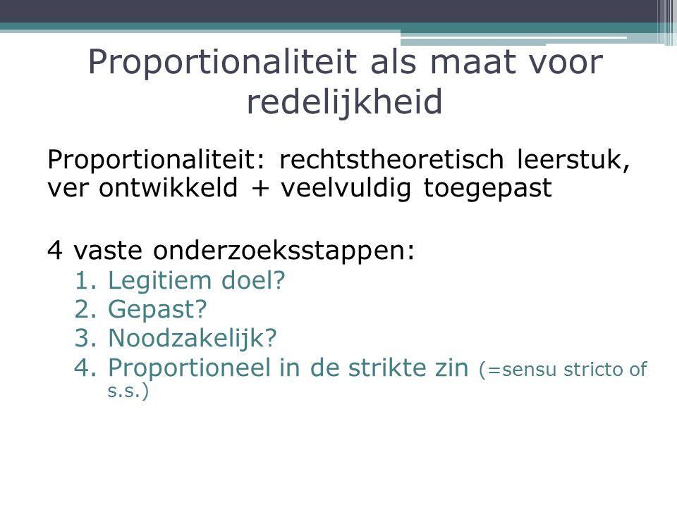 Proportionaliteit als maat voor redelijkheid Proportionaliteit: rechtstheoretisch leerstuk, ver ontwikkeld + veelvuldig toegepast 4 vaste onderzoeksstappen: 1.Legitiem doel.