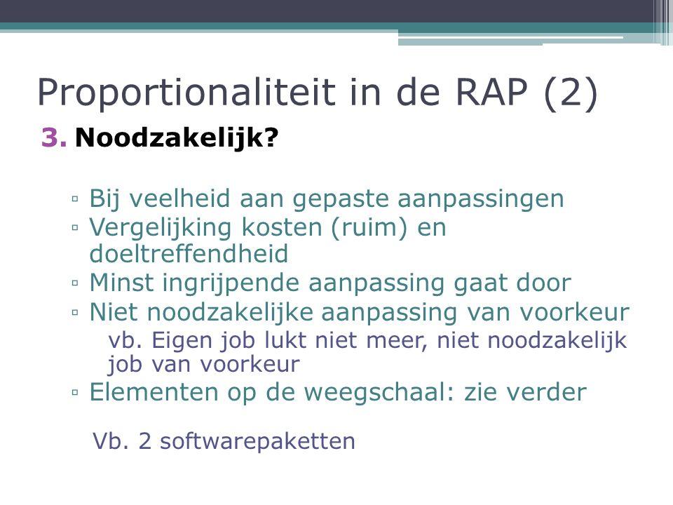Proportionaliteit in de RAP (2) 3.Noodzakelijk.