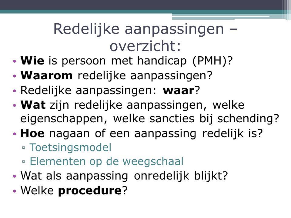 Redelijke aanpassingen – overzicht: Wie is persoon met handicap (PMH).