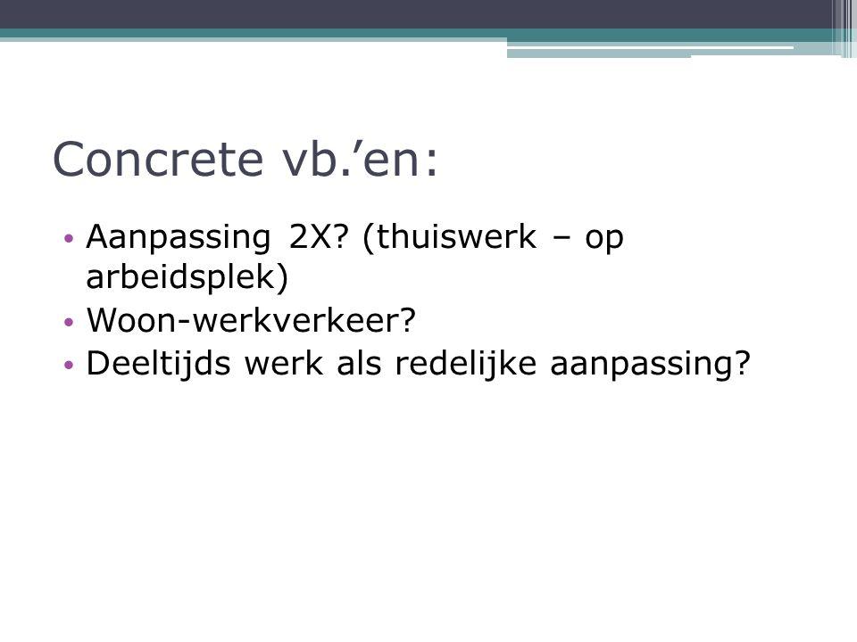 Concrete vb.'en: Aanpassing 2X. (thuiswerk – op arbeidsplek) Woon-werkverkeer.