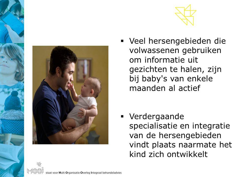  Veel hersengebieden die volwassenen gebruiken om informatie uit gezichten te halen, zijn bij baby s van enkele maanden al actief  Verdergaande specialisatie en integratie van de hersengebieden vindt plaats naarmate het kind zich ontwikkelt