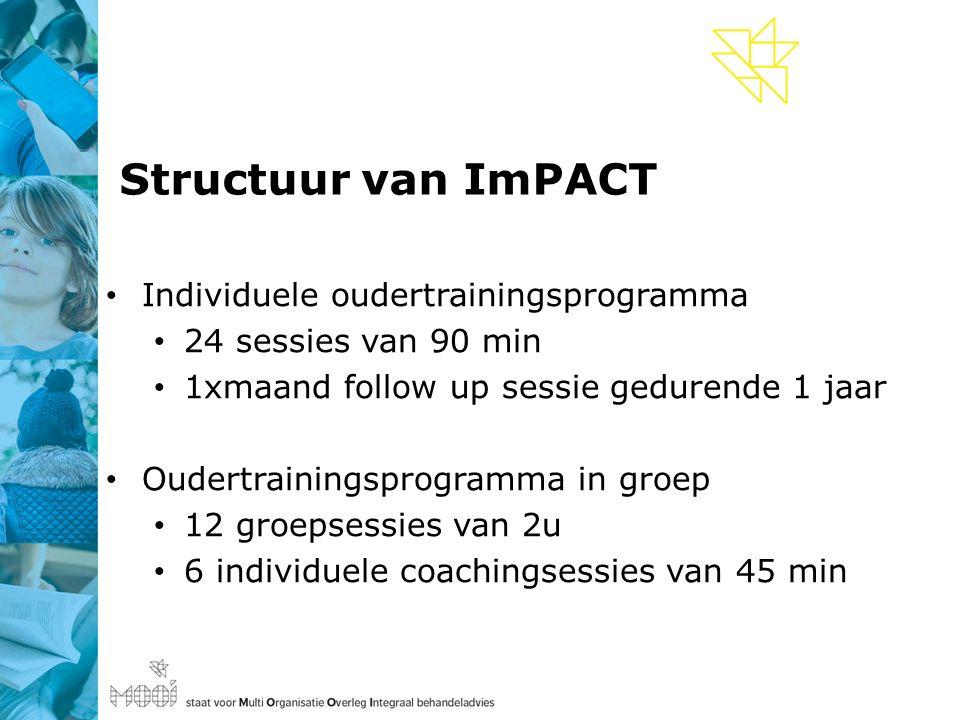 Structuur van ImPACT Individuele oudertrainingsprogramma 24 sessies van 90 min 1xmaand follow up sessie gedurende 1 jaar Oudertrainingsprogramma in groep 12 groepsessies van 2u 6 individuele coachingsessies van 45 min