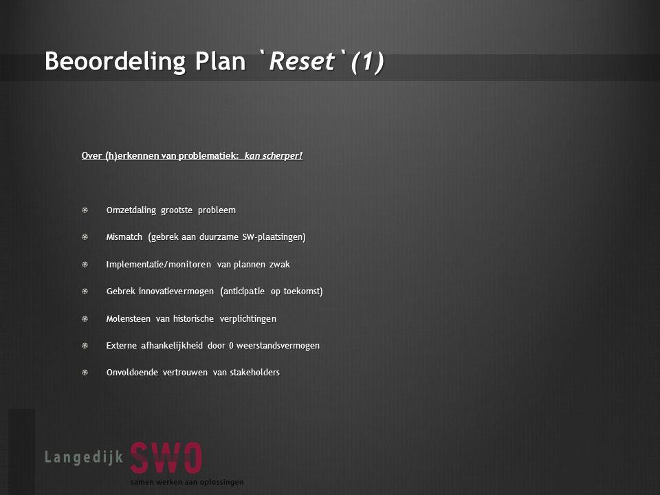 Beoordeling Plan `Reset`(1) Over (h)erkennen van problematiek: kan scherper.