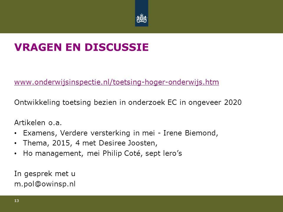 VRAGEN EN DISCUSSIE www.onderwijsinspectie.nl/toetsing-hoger-onderwijs.htm Ontwikkeling toetsing bezien in onderzoek EC in ongeveer 2020 Artikelen o.a.