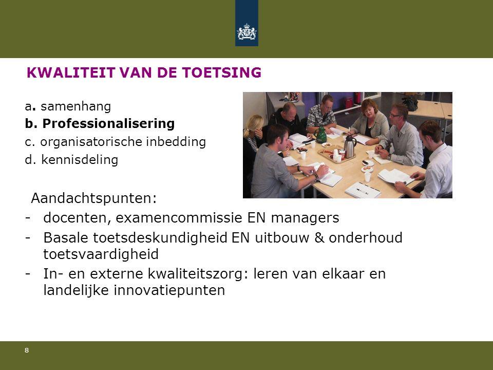 KWALITEIT VAN DE TOETSING a. samenhang b. Professionalisering c.