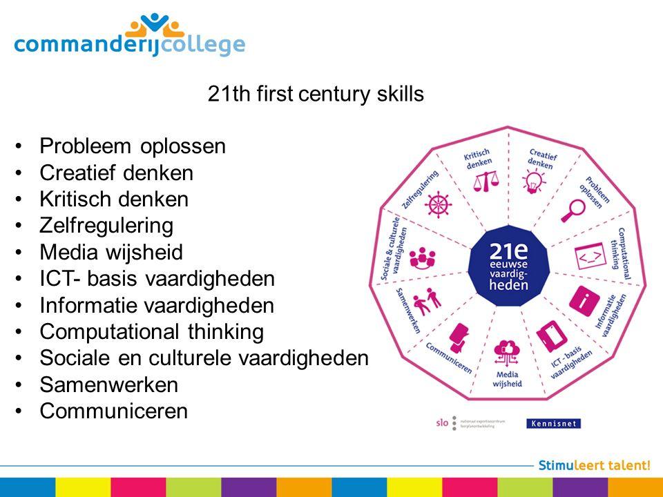 21th first century skills Probleem oplossen Creatief denken Kritisch denken Zelfregulering Media wijsheid ICT- basis vaardigheden Informatie vaardigheden Computational thinking Sociale en culturele vaardigheden Samenwerken Communiceren