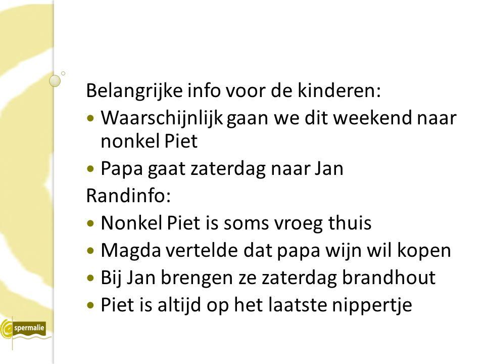 Belangrijke info voor de kinderen: Waarschijnlijk gaan we dit weekend naar nonkel Piet Papa gaat zaterdag naar Jan Randinfo: Nonkel Piet is soms vroeg thuis Magda vertelde dat papa wijn wil kopen Bij Jan brengen ze zaterdag brandhout Piet is altijd op het laatste nippertje