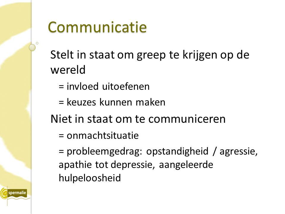Communicatie Stelt in staat om greep te krijgen op de wereld = invloed uitoefenen = keuzes kunnen maken Niet in staat om te communiceren = onmachtsitu