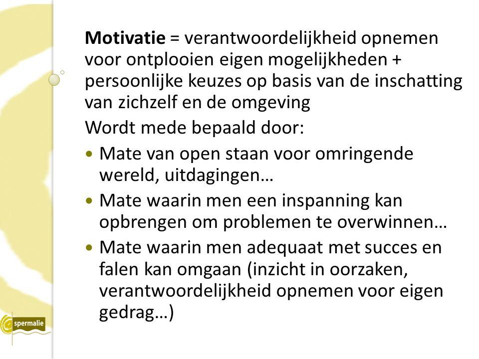 Motivatie = verantwoordelijkheid opnemen voor ontplooien eigen mogelijkheden + persoonlijke keuzes op basis van de inschatting van zichzelf en de omge