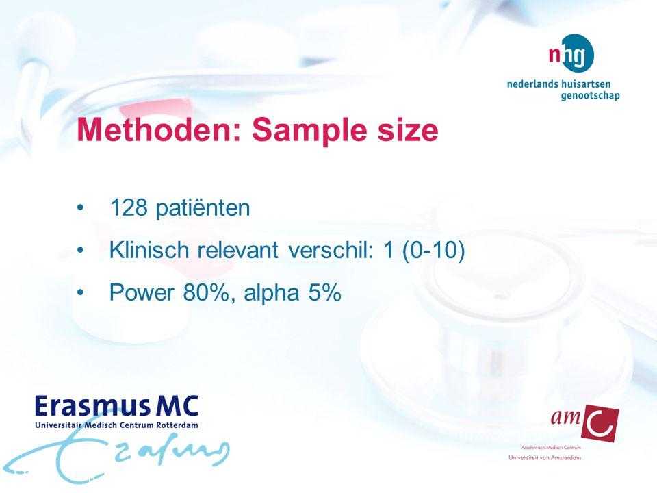Methoden: Sample size 128 patiënten Klinisch relevant verschil: 1 (0-10) Power 80%, alpha 5%