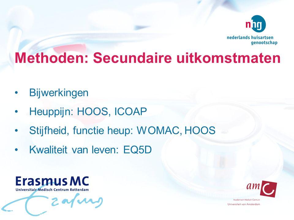 Methoden: Secundaire uitkomstmaten Bijwerkingen Heuppijn: HOOS, ICOAP Stijfheid, functie heup: WOMAC, HOOS Kwaliteit van leven: EQ5D