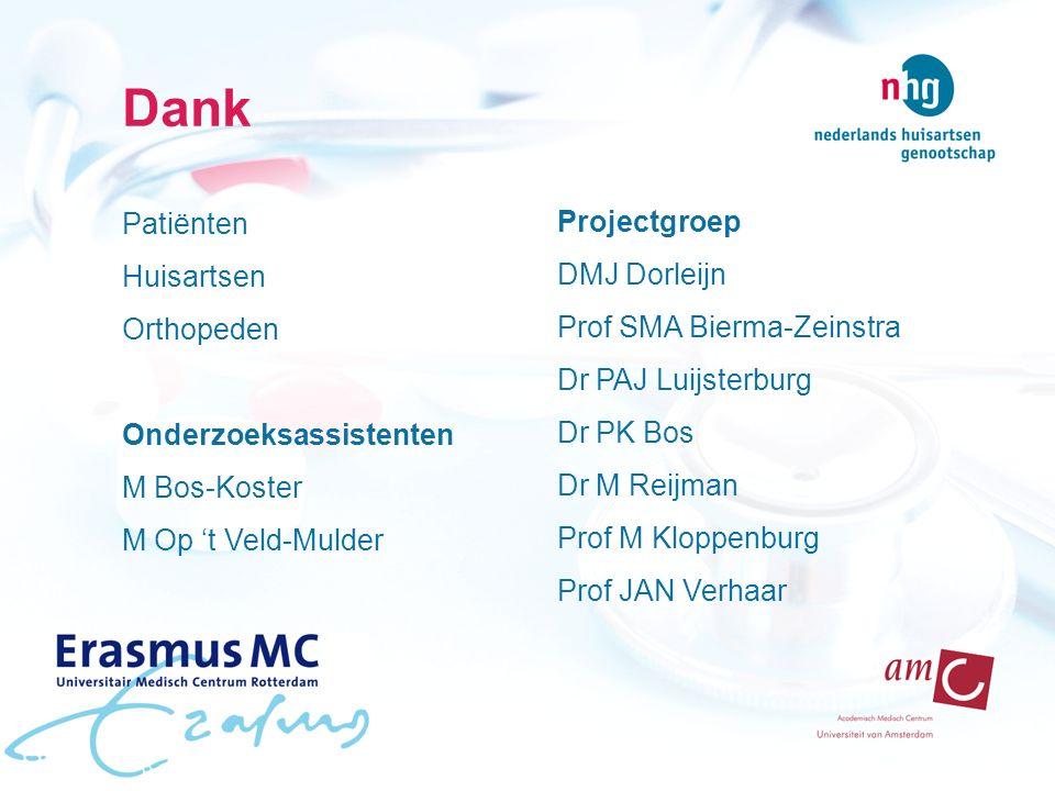 Dank Patiënten Huisartsen Orthopeden Onderzoeksassistenten M Bos-Koster M Op 't Veld-Mulder Projectgroep DMJ Dorleijn Prof SMA Bierma-Zeinstra Dr PAJ