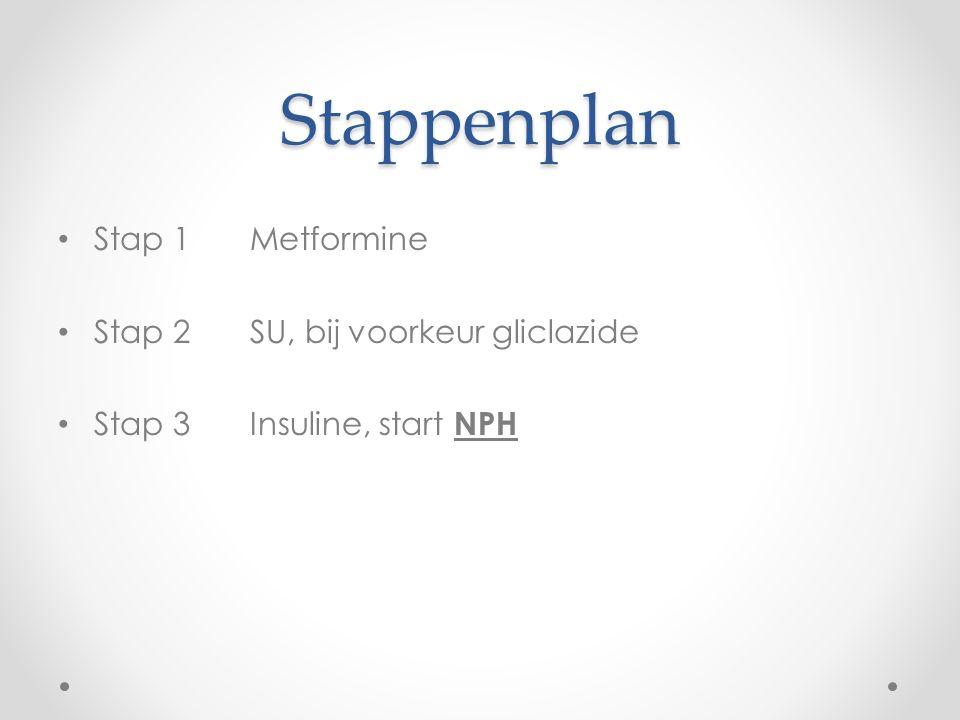 Stappenplan Stap 1Metformine Stap 2 SU, bij voorkeur gliclazide Stap 3Insuline, start NPH