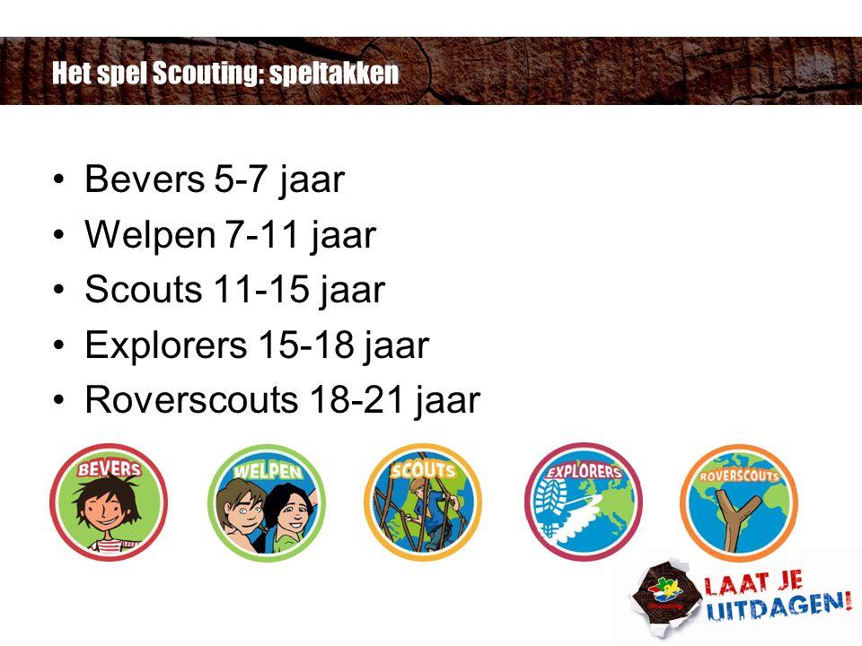 Het spel Scouting: speltakken Bevers 5-7 jaar Welpen 7-11 jaar Scouts 11-15 jaar Explorers 15-18 jaar Roverscouts 18-21 jaar