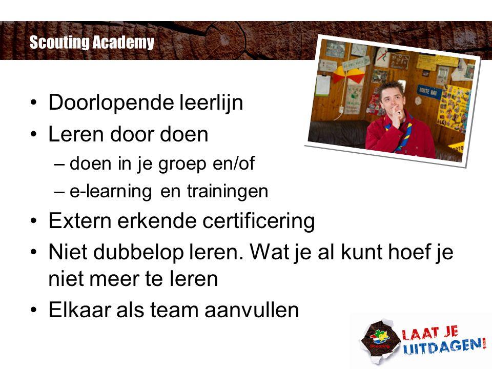 Scouting Academy Doorlopende leerlijn Leren door doen –doen in je groep en/of –e-learning en trainingen Extern erkende certificering Niet dubbelop leren.