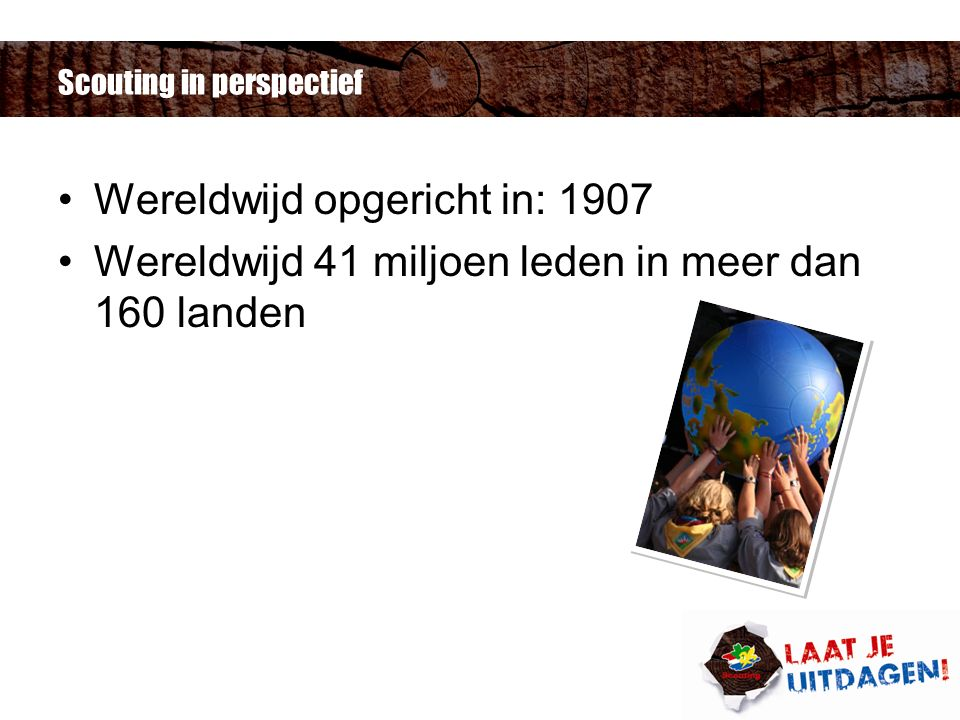 Scouting in perspectief Wereldwijd opgericht in: 1907 Wereldwijd 41 miljoen leden in meer dan 160 landen