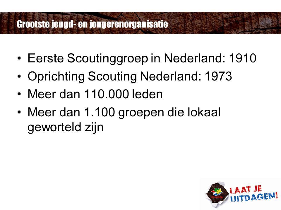 Grootste jeugd- en jongerenorganisatie Eerste Scoutinggroep in Nederland: 1910 Oprichting Scouting Nederland: 1973 Meer dan 110.000 leden Meer dan 1.100 groepen die lokaal geworteld zijn