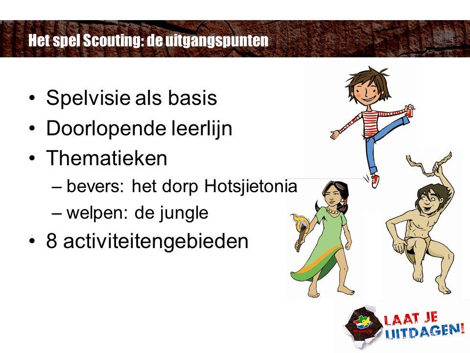 Het spel Scouting: de uitgangspunten Spelvisie als basis Doorlopende leerlijn Thematieken –bevers: het dorp Hotsjietonia –welpen: de jungle 8 activiteitengebieden