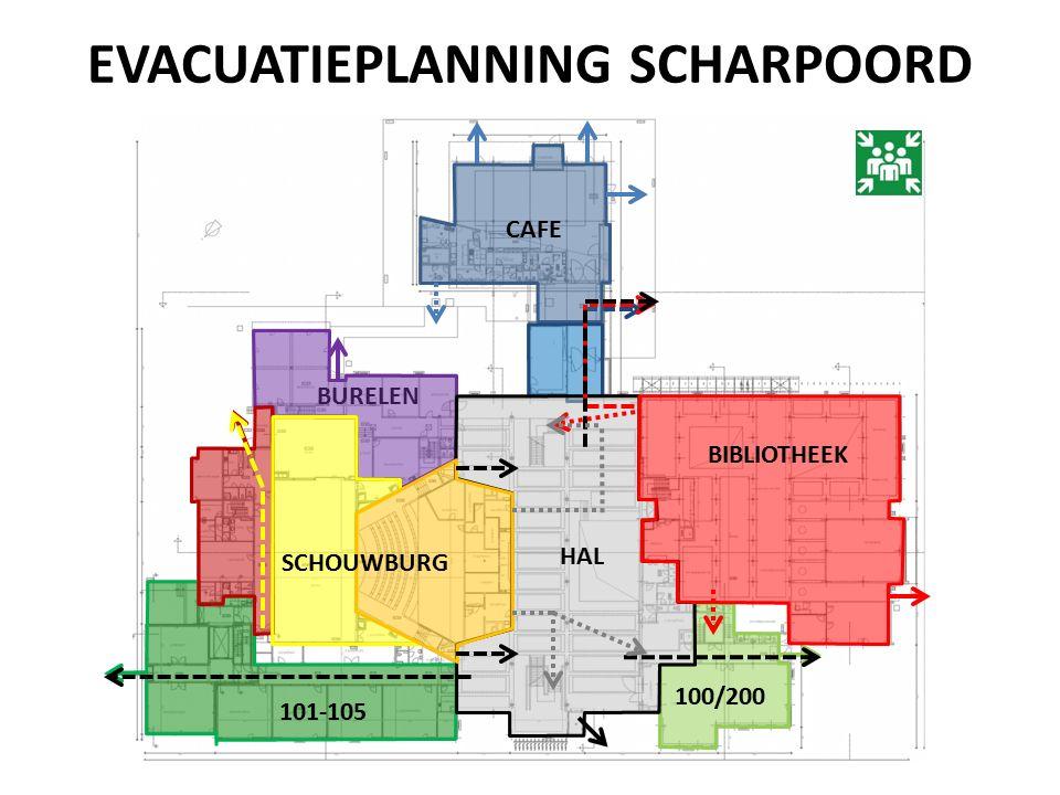 EVACUATIEPLANNING SCHARPOORD CAFE 101-105 BURELEN 100/200 HAL BIBLIOTHEEK SCHOUWBURG