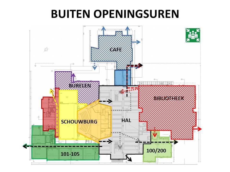 BUITEN OPENINGSUREN CAFE 101-105 100/200 HAL BIBLIOTHEEK SCHOUWBURG BURELEN