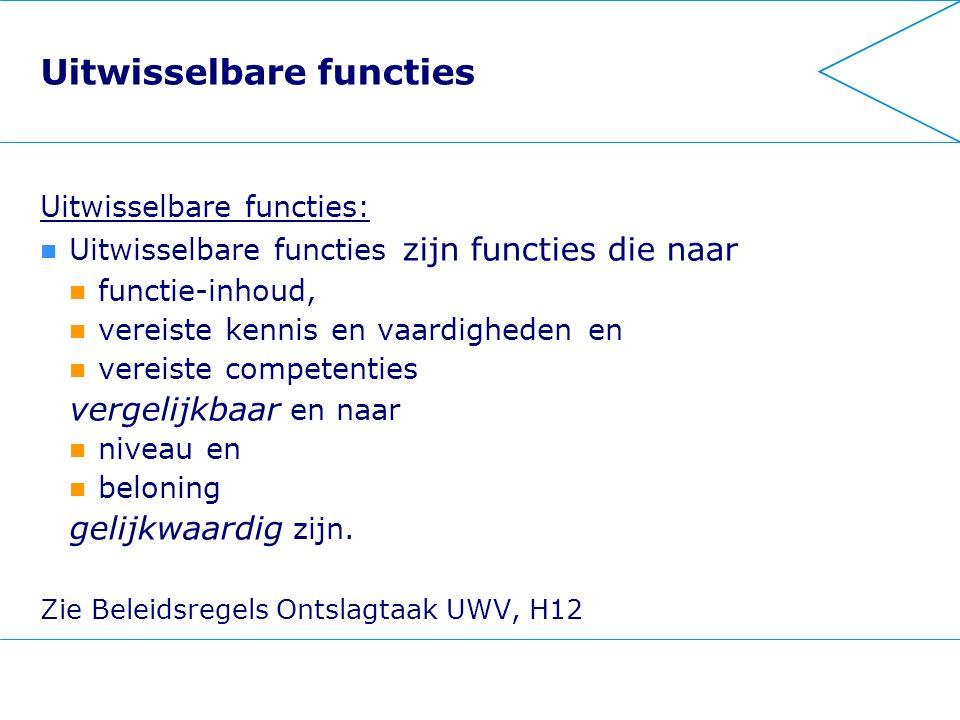 Uitwisselbare functies Uitwisselbare functies: Uitwisselbare functies zijn functies die naar functie-inhoud, vereiste kennis en vaardigheden en vereis