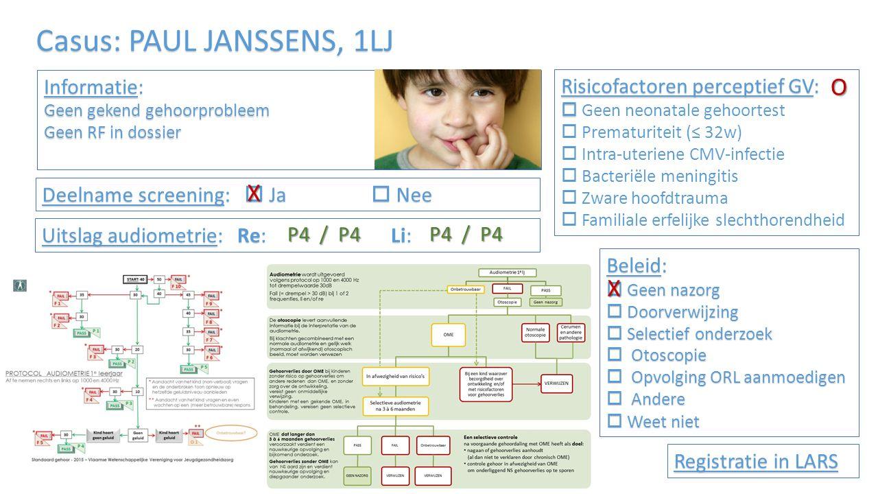 Casus: JEF SMEYERS, 1LJ Informatie: Recidiverende oorontstekingen in de voorgeschiedenis Risicofactoren perceptief GV:   Geen neonatale gehoortest  Prematuriteit (≤ 32w)  Intra-uteriene CMV-infectie  Bacteriële meningitis  Zware hoofdtrauma  Familiale erfelijke slechthorendheid Audiometrie: Re: Li: Registratie in LARS Deelname screening:  Ja  Nee Otoscopie: Otoscopie: mat TV – vochtniveau zichtbaar P4 / P4 F9 / F8 Beleid:  Geen nazorg  Doorverwijzing  Selectief onderzoek  Otoscopie  Opvolging ORL aanmoedigen  Ander  Weet niet O