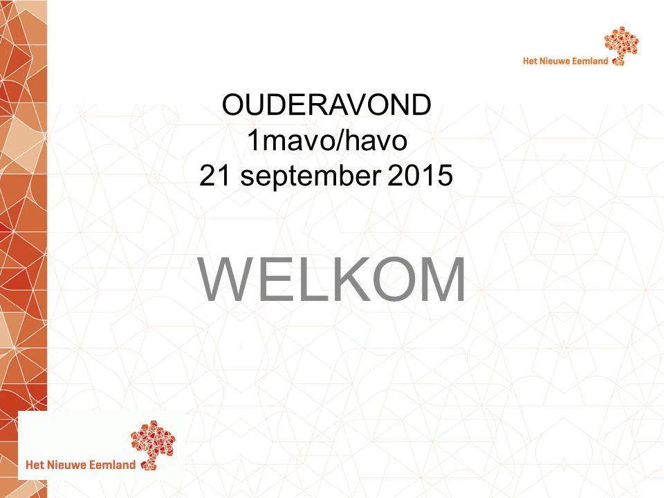 OUDERAVOND 1mavo/havo 21 september 2015 WELKOM