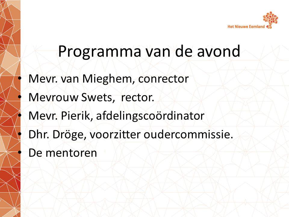 Programma van de avond Mevr. van Mieghem, conrector Mevrouw Swets, rector. Mevr. Pierik, afdelingscoördinator Dhr. Dröge, voorzitter oudercommissie. D