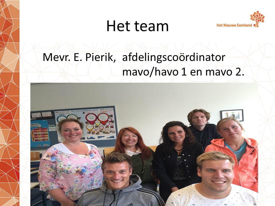 Het team Mevr. E. Pierik, afdelingscoördinator mavo/havo 1 en mavo 2.