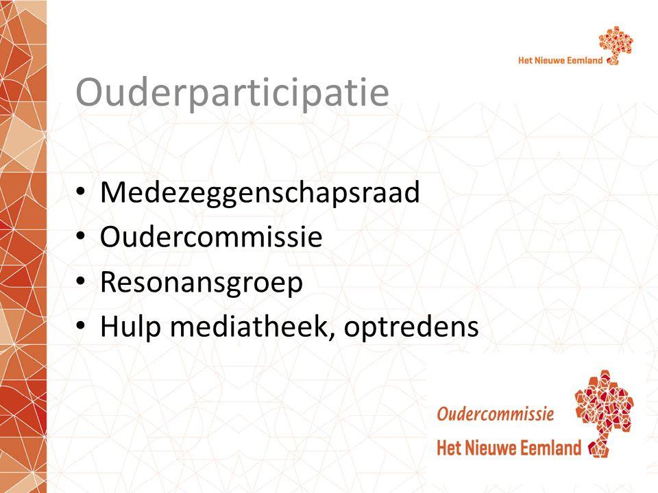 Ouderparticipatie Medezeggenschapsraad Oudercommissie Resonansgroep Hulp mediatheek, optredens