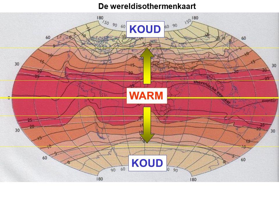 De wereldisothermenkaart WARM KOUD