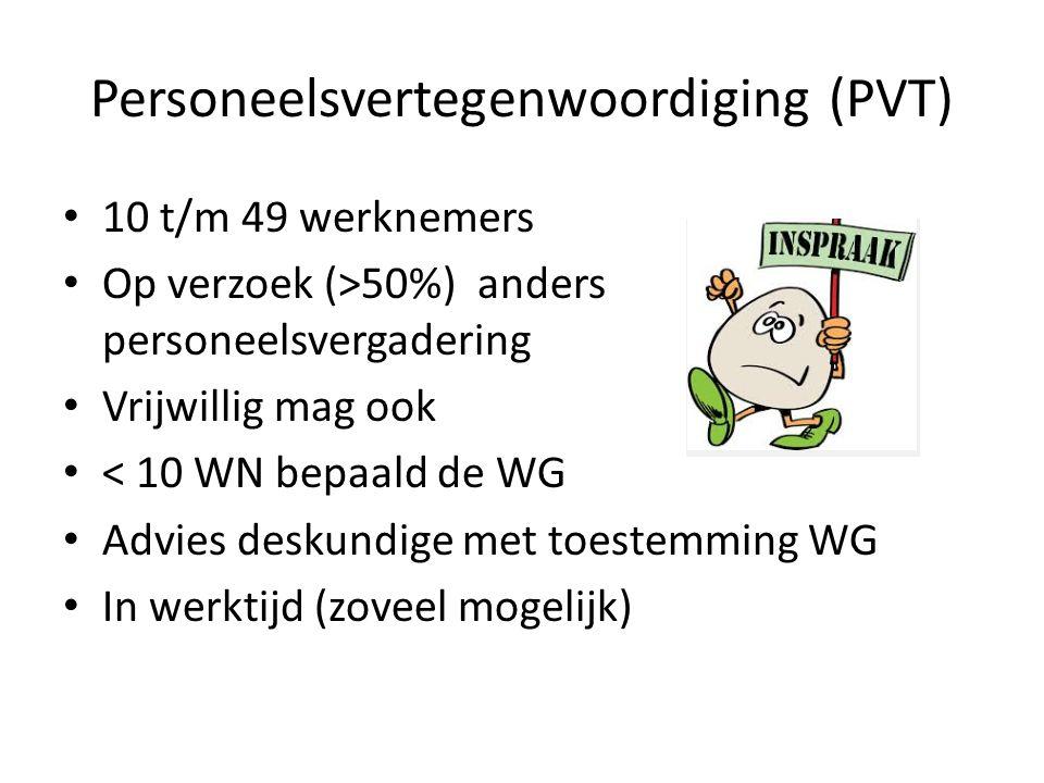 Personeelsvertegenwoordiging (PVT) 10 t/m 49 werknemers Op verzoek (>50%) anders personeelsvergadering Vrijwillig mag ook < 10 WN bepaald de WG Advies