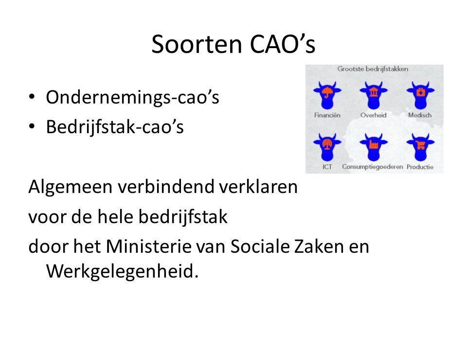 Soorten CAO's Ondernemings-cao's Bedrijfstak-cao's Algemeen verbindend verklaren voor de hele bedrijfstak door het Ministerie van Sociale Zaken en Wer