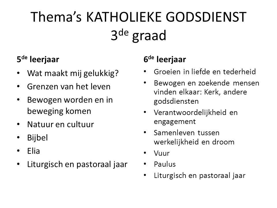 Thema's KATHOLIEKE GODSDIENST 3 de graad 5 de leerjaar Wat maakt mij gelukkig.