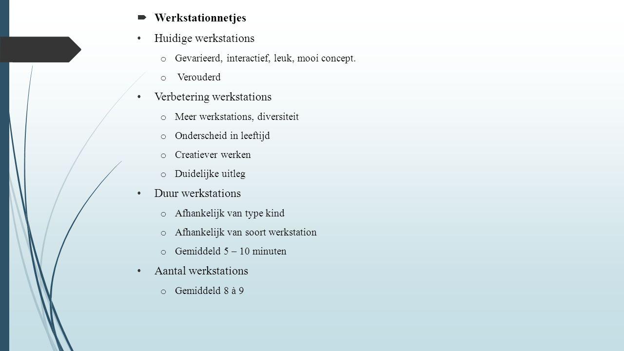  Werkstationnetjes Huidige werkstations o Gevarieerd, interactief, leuk, mooi concept.